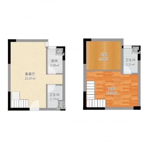 东岸公馆1室2厅2卫1厨82.00㎡户型图
