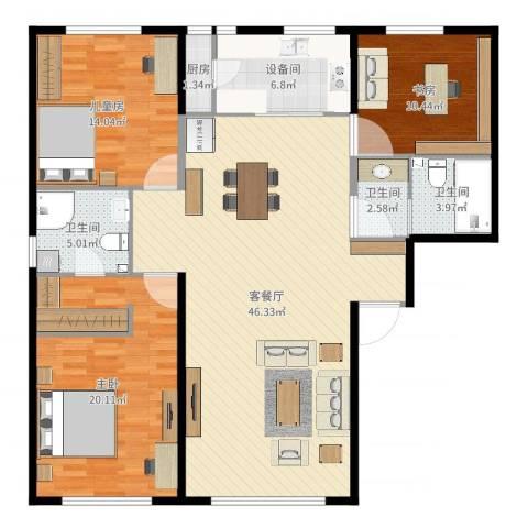 水木兰亭三期(A户型)3室2厅3卫1厨138.00㎡户型图