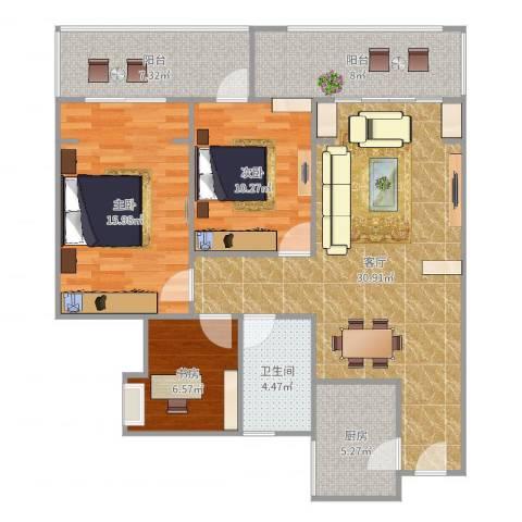 金科公园王府3室1厅1卫1厨111.00㎡户型图