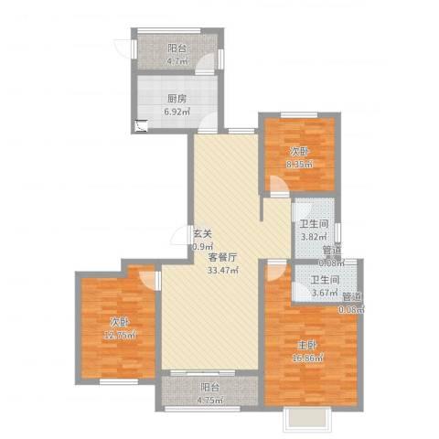 浮来春公馆3室2厅2卫1厨119.00㎡户型图