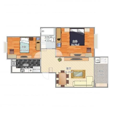 好日子大家园C区2室1厅1卫1厨78.00㎡户型图