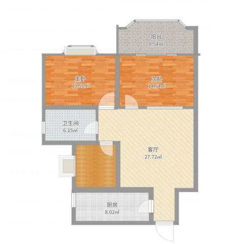 槐苑花园2室1厅1卫1厨107.00㎡户型图