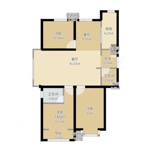 建投・御河新城3室1厅2卫1厨120.00㎡户型图
