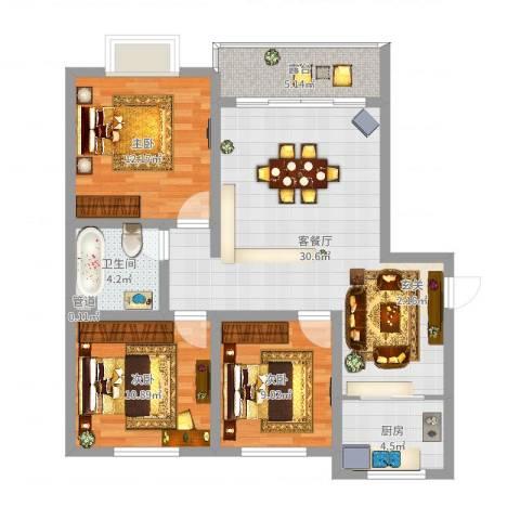 富雅锦园013室2厅1卫1厨96.00㎡户型图