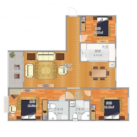 榆次丽景苑3室2厅2卫1厨127.00㎡户型图