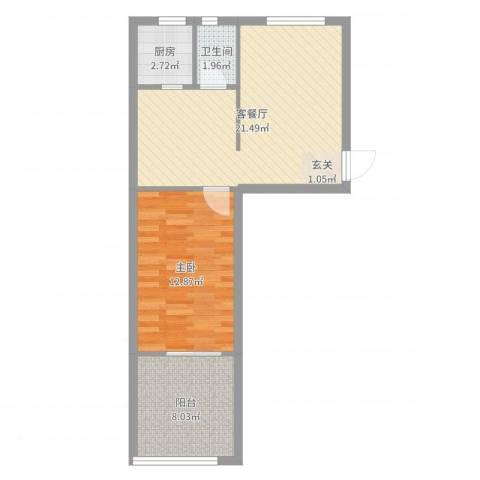 北京市朝阳区西坝河中里1室2厅1卫1厨59.00㎡户型图