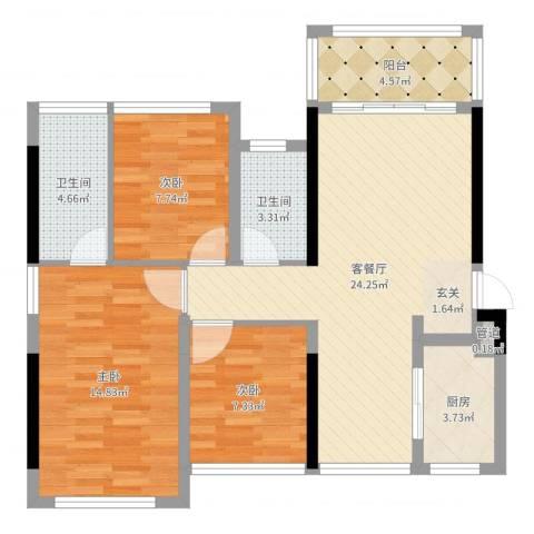 深基天海城市花园3室2厅2卫1厨88.00㎡户型图