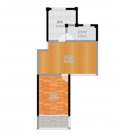 金和佳园1室2厅1卫1厨67.00㎡户型图
