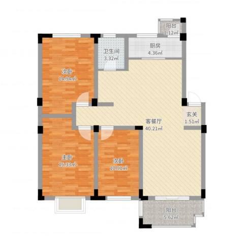 安正御龙湾2号16013室2厅1卫1厨120.00㎡户型图