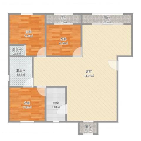 新明星花园二期3室1厅2卫1厨86.00㎡户型图