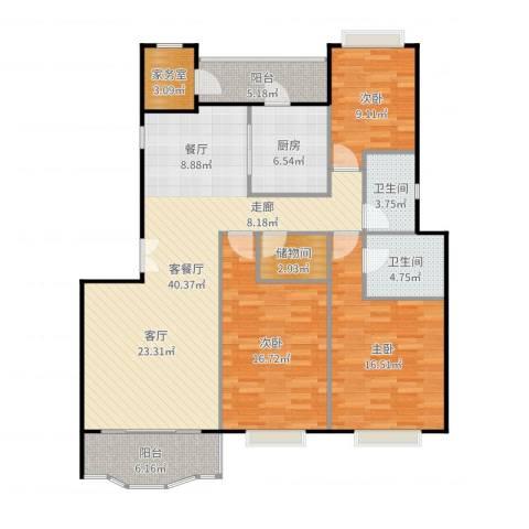 新明星花园二期3室2厅2卫1厨144.00㎡户型图
