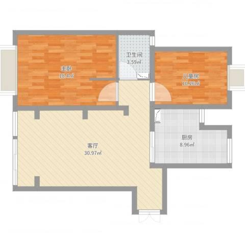 新明星花园二期2室1厅1卫1厨90.00㎡户型图