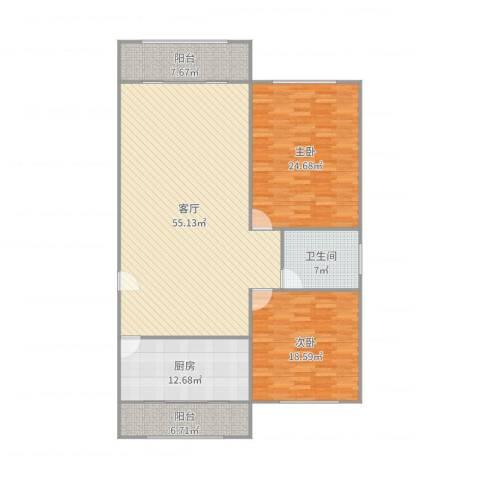 新明星花园二期2室1厅1卫1厨166.00㎡户型图