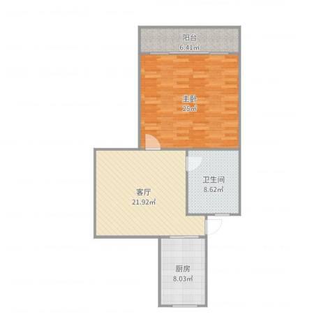 西环三村1室1厅1卫1厨87.00㎡户型图