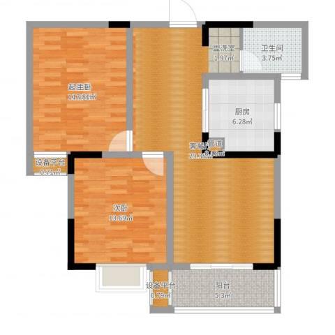 好运理想城1室2厅1卫1厨95.00㎡户型图