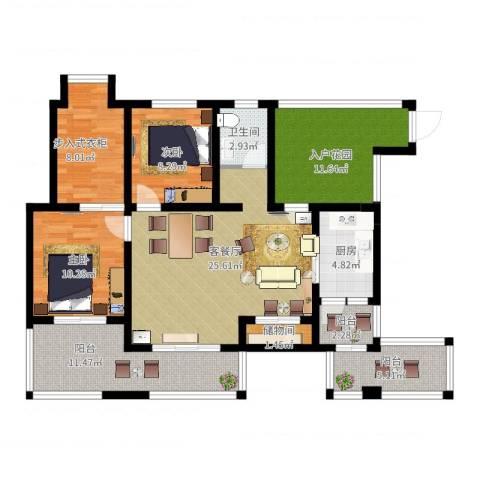 香榭国际2室2厅1卫1厨136.00㎡户型图