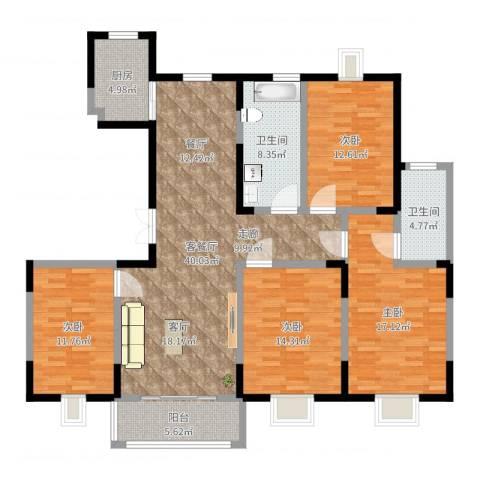 恒盛泰晤士印象4室2厅2卫1厨150.00㎡户型图
