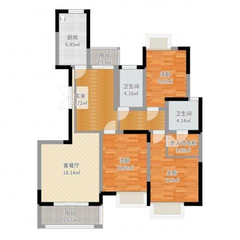 中联・君悦3室2厅2卫1厨117.00㎡户型图