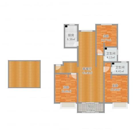 海亮公馆3室2厅2卫1厨159.00㎡户型图