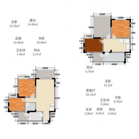 阳光清华4室2厅2卫1厨136.00㎡户型图