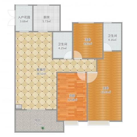 海亮天城1123室3厅2卫1厨119.00㎡户型图
