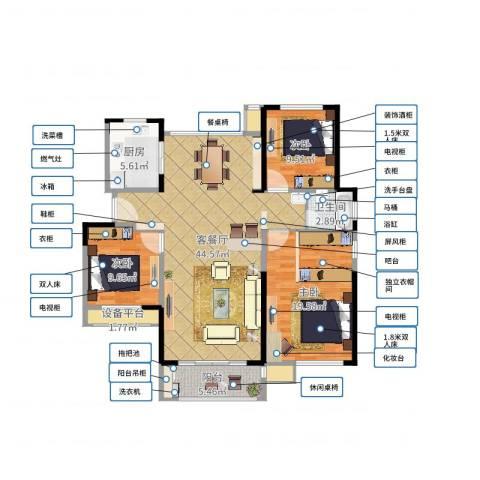 绿地新都会3室2厅1卫1厨125.00㎡户型图