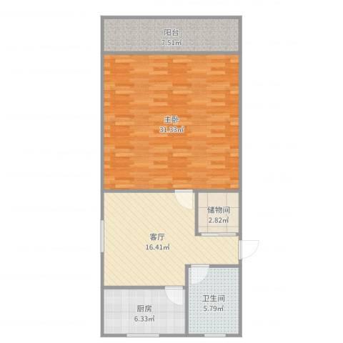 西环一村1室1厅1卫1厨88.00㎡户型图