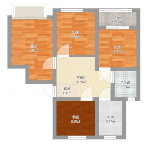 西环一村4室2厅1卫1厨58.00㎡户型图