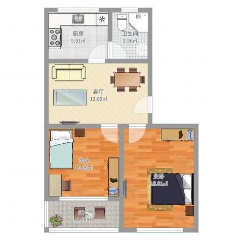 西环一村2室1厅1卫1厨65.00㎡户型图