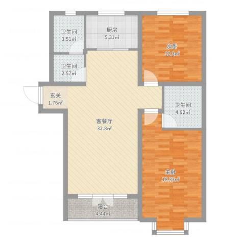 宾果702室2厅3卫1厨105.00㎡户型图