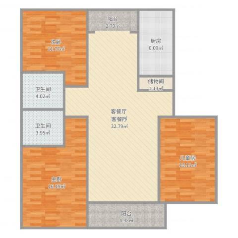 新时代景庭1013室2厅2卫1厨121.00㎡户型图