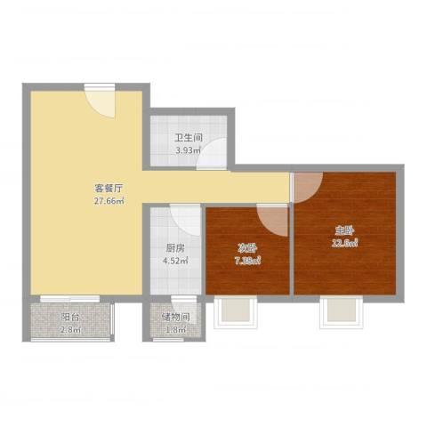 加州水郡西区2室2厅1卫1厨76.00㎡户型图