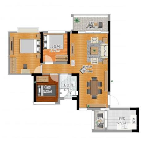 广州碧桂园城市花园2室2厅1卫1厨85.00㎡户型图