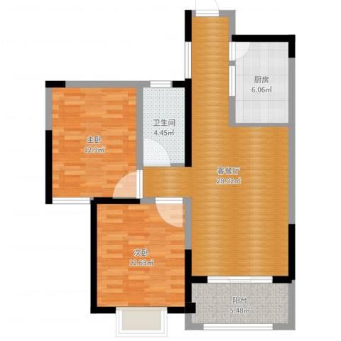 和昌运河尚郡2室2厅1卫1厨87.00㎡户型图