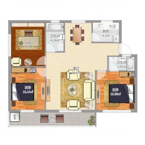 樱花小区3室1厅2卫1厨116.00㎡户型图