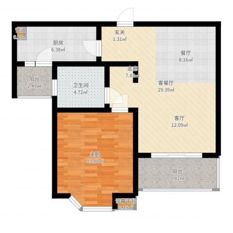 莘闵荣顺苑1室2厅1卫1厨82.00㎡户型图