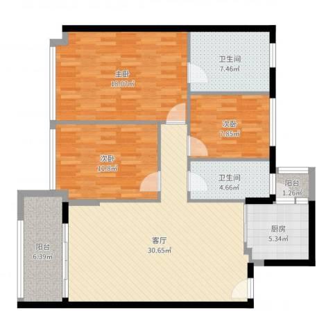 富雅都市华庭3室1厅2卫1厨117.00㎡户型图