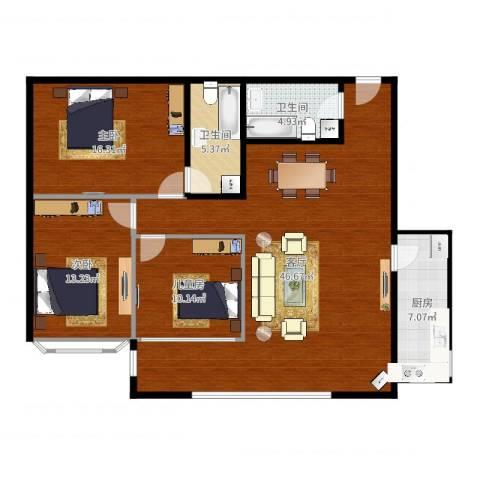 玺萌丽苑3室1厅2卫1厨130.00㎡户型图