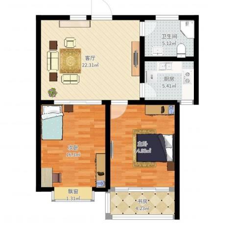 金马怡园3室1厅1卫1厨85.00㎡户型图