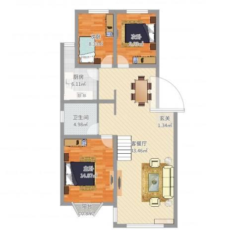 月潭爱丁堡二期3室2厅1卫1厨110.00㎡户型图