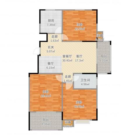 蓝湖西岸3室2厅1卫1厨137.00㎡户型图