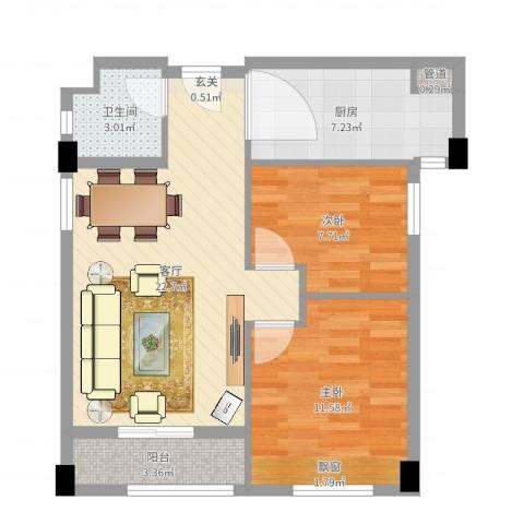 红河云岭・盛世佳园2室1厅1卫1厨70.00㎡户型图