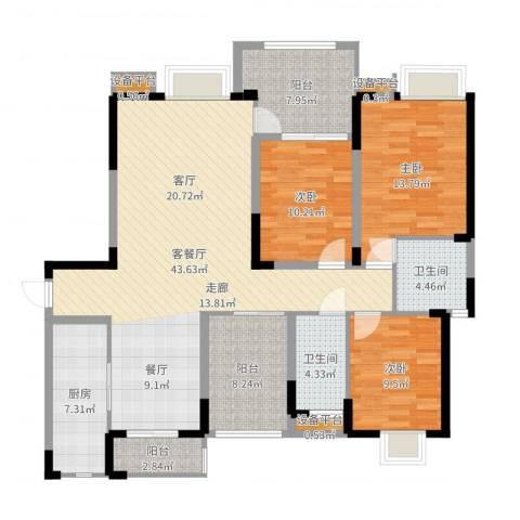 金鼎名城3室2厅2卫1厨142.00㎡户型图