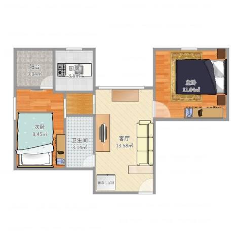 华园新村2室1厅1卫1厨53.00㎡户型图
