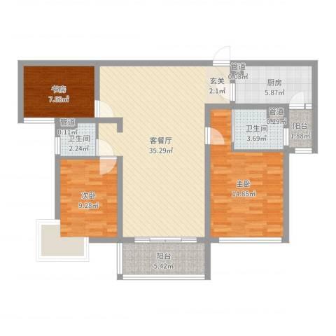 第五元素3室2厅2卫1厨108.00㎡户型图