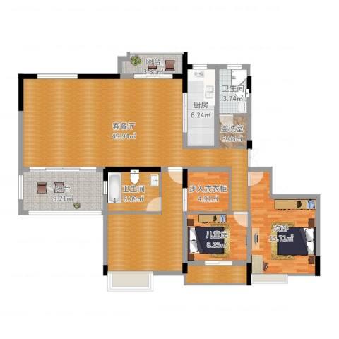 国信上城2室2厅2卫1厨157.00㎡户型图