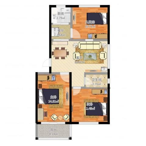 威达花园3室2厅1卫1厨67.62㎡户型图