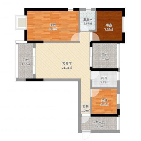 金园金色家园3室2厅1卫1厨86.00㎡户型图
