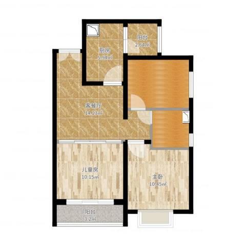 恒大幸福家园2室2厅2卫1厨73.00㎡户型图