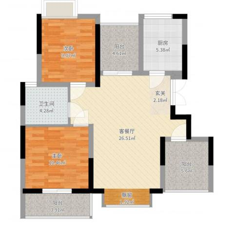 仁和翠苑2室2厅1卫1厨87.00㎡户型图